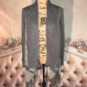 Hem & Thread Sweaters - Flowing Gray Contrast Open Knit Cadigan